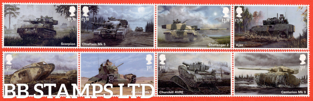 2021 British Army Vehicles (4 horizontal pairs 2 x 1st and 2 x £1.70) (PACK: Includes MS No Barcode) (Pack no:606)  (02.09.21)