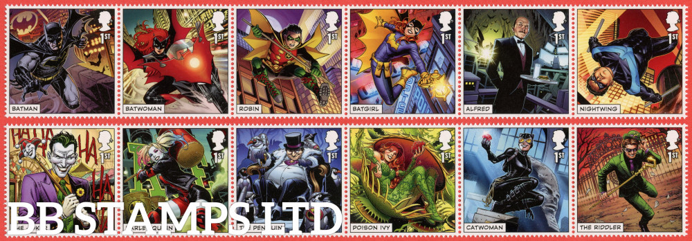 2021 DC Collection (2 x strips of 6 1st class) (PACK: 607 with MS No Barcode) (under UV light illustrations appear) (17.09.21)