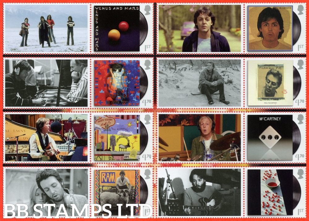 2021 Paul McCartney Smiler sheet stamps (set of 8, images my vary) (28.05.21)