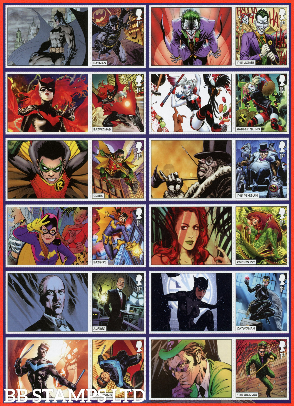 LS135 stamps 2021 DC Collection (12x1st with labels attached) (17.09.21)