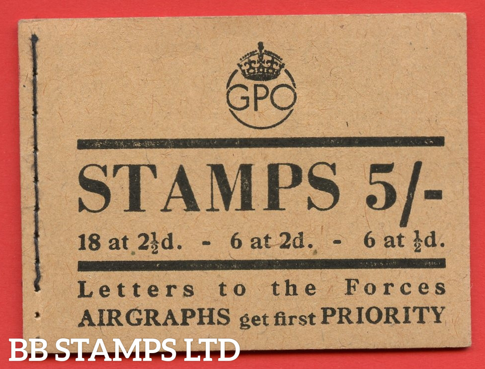 5/- King George VI Containing Stamps in Pale Colours. Issued in April 1944. Type 25 Buff cover.