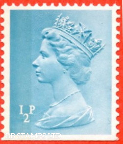 ½p Turquoise Blue (Left Band) (TRIMMED PERFS) 24.5.72 ( Not Included in X set) (from DX1)
