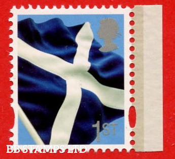 2013 1st Scottish Flag (DY18) Litho Cartor (Silver Queen's head)