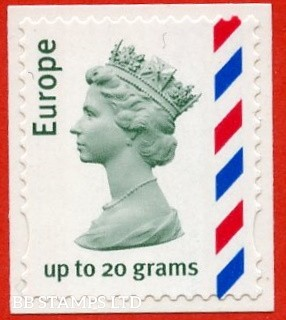Europe Universal up to 20 grams, green, with rosine and new blue half-chevrons. Walsall, white backing (from pack)