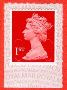 """1st Class Bright Scarlet. DLR """"M16L"""" (New Red), printed backing paper with pairs of lines inverted. (Backing not applicable on used.)  These are listed on the lighthouse pages and will be rare!"""