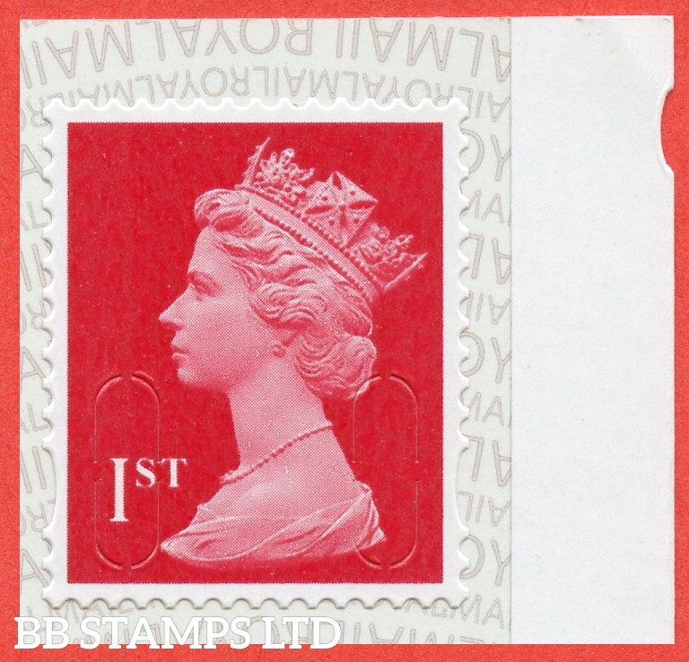 1st Class Bright Scarlet MSIL 'M19L' Royal Mail Backing with alternate 2 Pairs of lines inverted