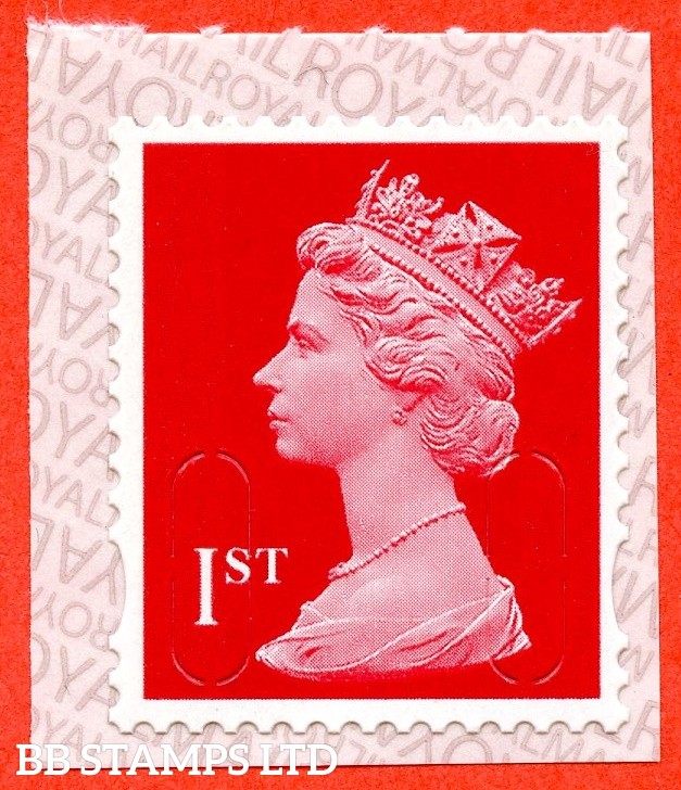 "1st Class Bright Scarlet. Walsall ""19"" ""MBIL"" RM Backing Paper with alternate 2 lines inverted (Backing paper N/A on used)"