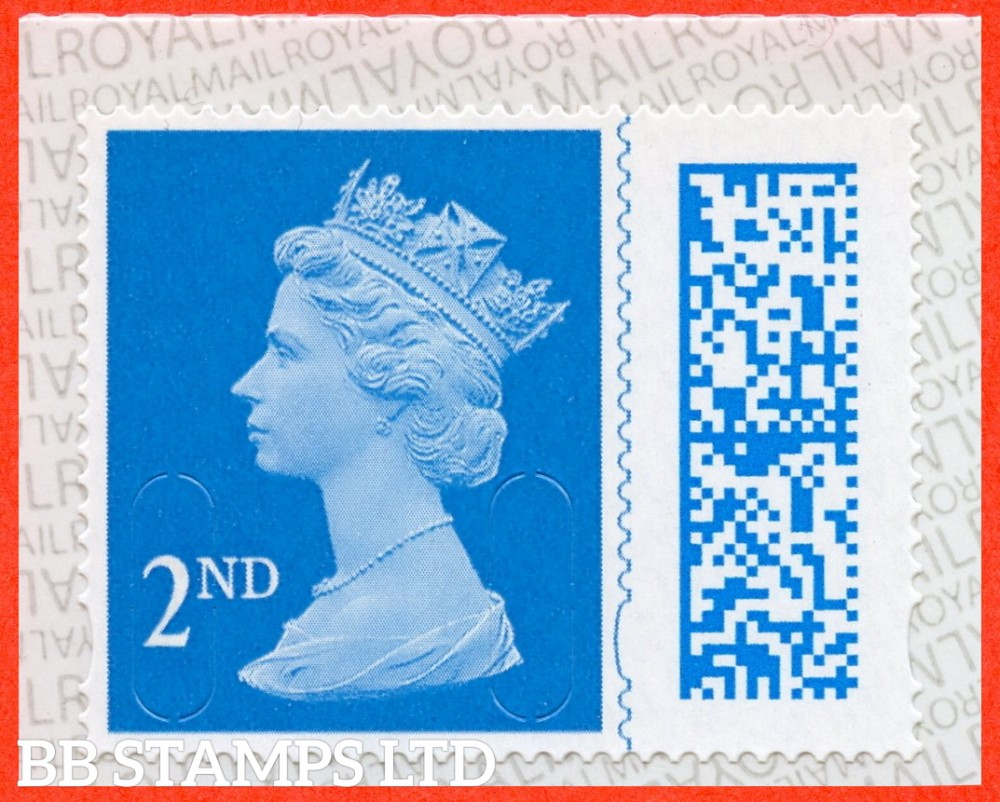 2021 2nd class blue M21L MBIL Barcoded Machins 50% larger than a traditional Machin definitive, partly due to the adjacent barcode. The main feature each stamp's (2D) barcode (also known as a data matrix) is unique and printed alongside the stamp design