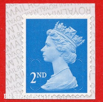 2nd Class Bright Blue 'M21L' MTIL, printed backing paper with pairs of lines inverted. (Picture for general reference only; our choice of Ls or sL supplied where both exist.) (Backing not applicable on used.) (1 stamp only.)