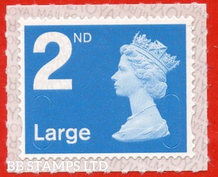 """2nd Class Bright Blue Large. Walsall """" M20L """" printed backing paper with pairs of lines inverted."""