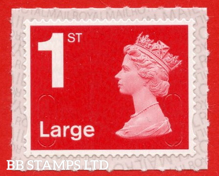"""1st Class Bright Scarlet Large. Walsall """" M21L """" """" MBIL """", printed backing paper with pairs of lines inverted,  (Picture for general reference only; our choice of Ls or sL supplied"""