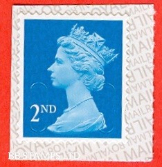 2nd Class Bright Blue 'M17L' MTIL Reversed Royal Mail Backing (1 stamp only)