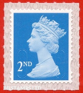 2nd Class Bright Blue. Walsall Printing M20L MAIL, printed backing paper with pairs of lines inverted. Weak Printing (Backing not applicable on used)