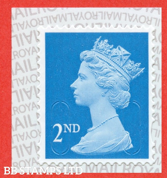 2nd Class Bright Blue 'M19L' MTIL, printed backing paper with pairs of lines inverted. (Picture for general reference only; our choice of Ls or sL supplied where both exist.) (Backing not applicable on used.) (1 stamp only.)
