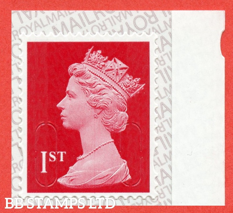 1st Class Bright Scarlet MTIL 'M19L', printed backing paper with pairs of lines inverted. (Picture for general reference only; our choice of Ls or sL supplied where both exist.) (Backing not applicable on used.)