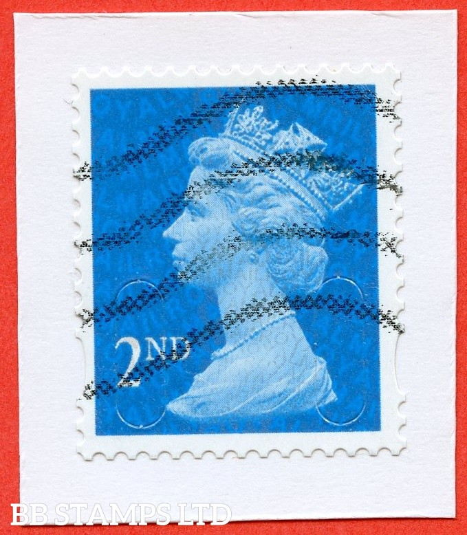 "SG. U3012. ( Old SG. U2962a ). 2nd class Bright Blue. "" MRIL "" "" MA10 "". DLR. A fine used example of this RARE "" U "" number machin security stamp. ONLY exists used as all copies were used on a mailshot. Only exists with a wavy line cancel."