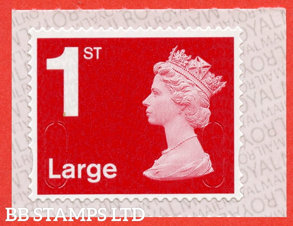 """1st Class Bright Scarlet Large. Walsall """" M19L """" """" MBIL """", printed backing paper with pairs of lines inverted. (Picture for general reference only; our choice of Ls or sL supplied where both exist.) (Backing not applicable on used.)"""