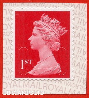 1st Class Scarlet M20L MCIL Royal Mail printed backing paper with alternate pairs of lines inverted