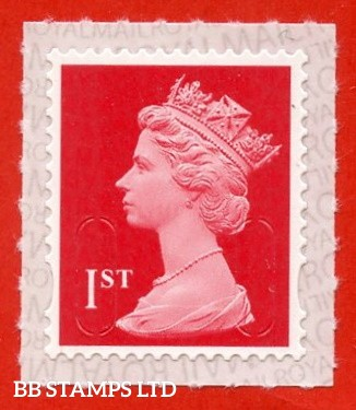 """1st Class Bright Scarlet. Walsall Printing """"M20L"""" MAIL, printed backing paper with pairs of lines inverted. (Backing not applicable on used.)"""