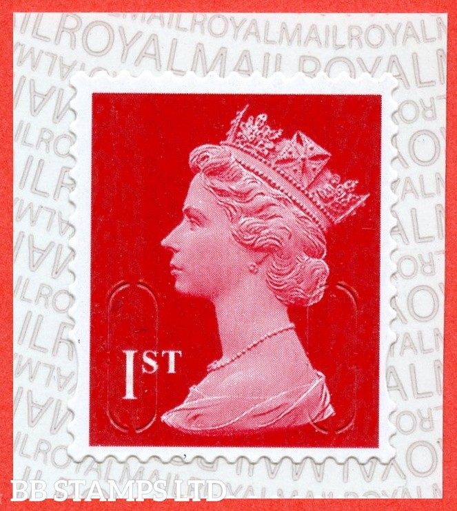 1st Class Scarlet M19L MCIL Royal Mail printed backing paper with alternate pairs of lines inverted (does not apply to used)