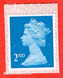 """2nd Class Bright Blue. Walsall """"17"""" """"MBIL"""" RM Backing Paper with alternate 2 lines inverted (New Colour): Backing paper N/A on used"""