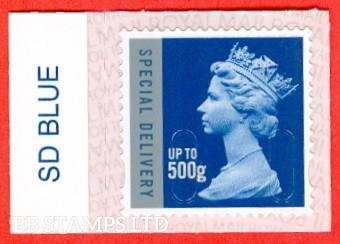 Special Delivery 500g Blue & Silver M18L Walsall Royal Mail Backing with alternate 2 lines inverted. (does not apply to used)
