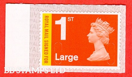 Royal Mail Signed For 1st Large M18L Bright Orange Red & Lemon Walsall Royal Mail Backing with alternate 2 lines inverted (does not apply to used)