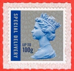 Special Delivery 100g Blue & Silver M18L Walsall Royal Mail backing with alternate 2 lines inverted (does not apply to used)