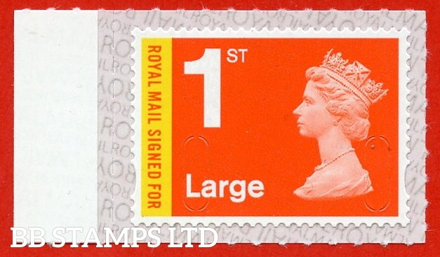 Royal Mail Signed For 1st Large M20L Bright Orange Red & Lemon Walsall Royal Mail Backing with alternate 2 lines inverted (does not apply to used)