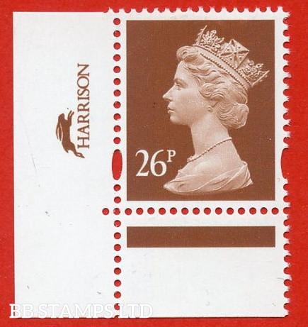26p Red-Brown Harrison (2 Bands) ( Blue phosphor) (Sheet stamp)