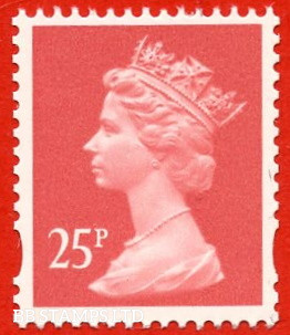 25p Rose-Red Harrison (2 Bands) (Yellow Phosphor, Booklet stamp, FW6/7,FH31/32,FH38/39)