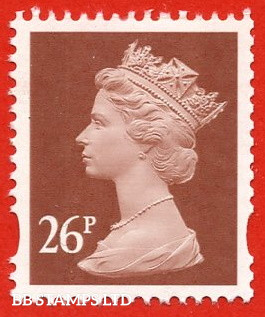 26p Red-Brown Questa (2 Bands) (blue phosphor from booklets, FW10/11,FH42,43)