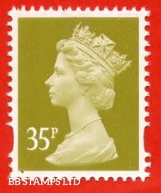 35p Yellow-Olive Enschede (Centre Band) (Blue Phosphor) (Sheet stamp)
