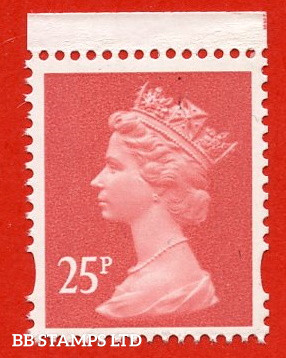 25p Rose-Red Harrison (2 Bands) (Blue Phosphor) (Booklet stamp FH38a, FW7a)
