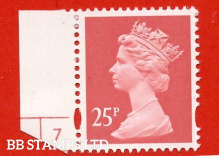 25p Rose-Red Harrison (2 Bands) (Blue Phosphor) (Sheet stamp)