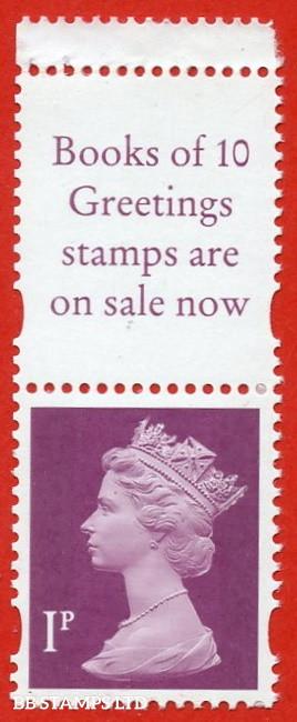 1p Crimson Questa (2 Bands) (Blue phosphor (Booklet stamp from FH42)