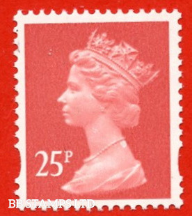 25p Rose-Red Harrison (2 Bands) (Yellow Phosphor) (Sheet stamp)