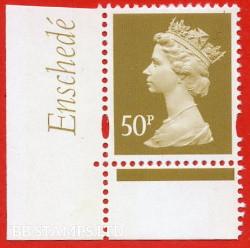 50p Ochre Enschede (2 Bands) (Yellow phosphor) (Sheet stamp)