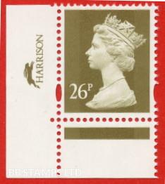 26p Gold Harrison Blue Phosphor Sheet Stamp (Sheet stamp))