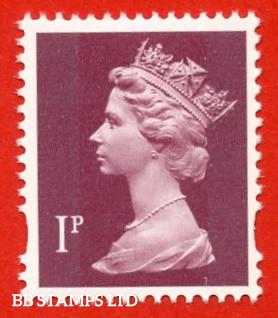 1p Crimson Enschede (2 Bands) (Blue Phosphor) (Sheet stamp)