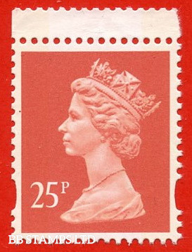 25p Red Walsall (2 Bands) (Yellow Phosphor)  (Booklet stamp FH31/32)