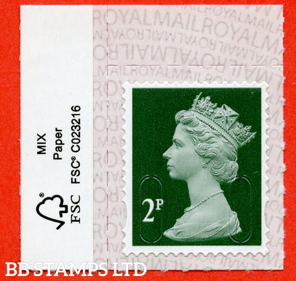 2p Deep Green M19L 'Walsall' Royal Mail Backing with alternate 2 lines inverted. Backing not applicable on used.