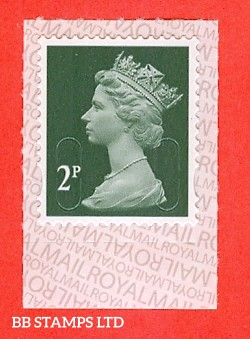 2p Deep Green M17L 'DLR'  Royal Mail Backing with alternate 2 lines inverted