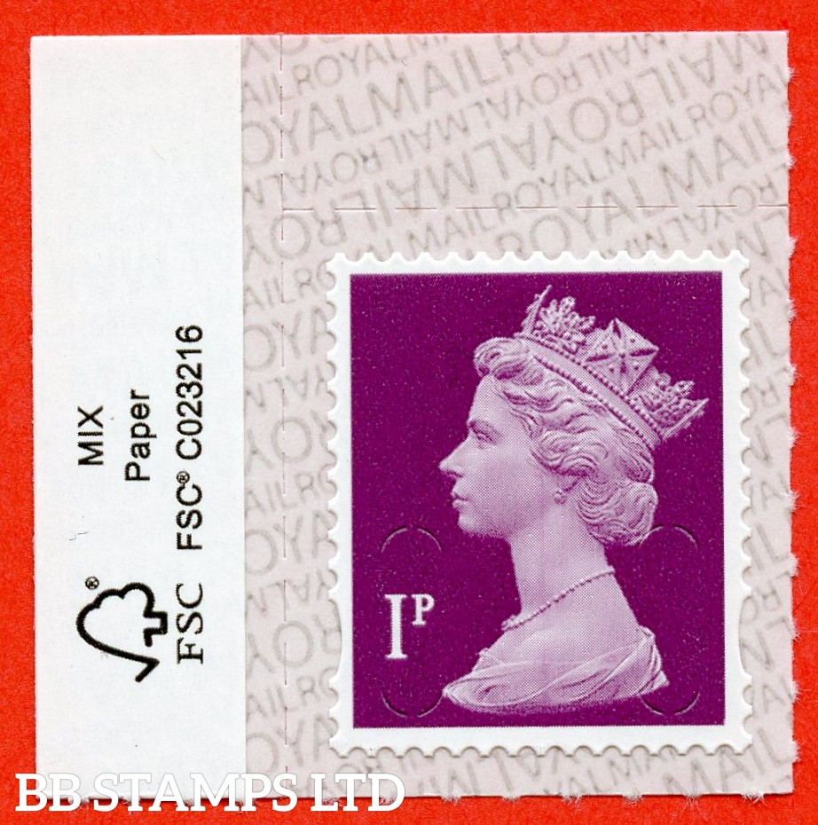 """1p Crimson Walsall """"M19L"""", printed backing paper with pairs of lines inverted. (Picture for general reference only; our choice of Ls or sL supplied where both exist.) (Backing not applicable on used.)"""