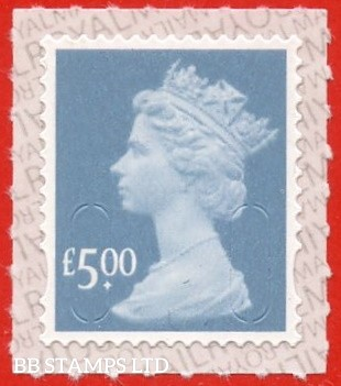 """2019 £5.00 Grey Blue Walsall """"M19L"""", printed backing paper with pairs of lines inverted. (Picture for general reference only; our choice of Ls or sL supplied where both exist.) (Backing not applicable on used.)"""