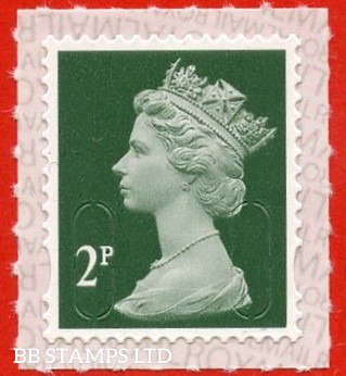 2p Deep Green M20L 'Walsall' Royal Mail Backing with alternate 2 lines inverted. Backing not applicable on used.