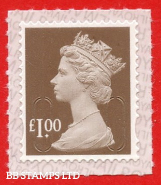 """£1.00 Wood Brown (paler-Bistre-Brown shade) """"M21L"""" Walsall Printing. Printed backing paper with pairs of lines inverted"""