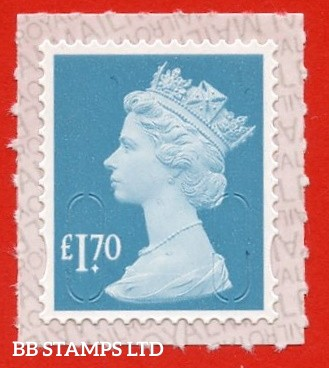 £1.70 Marine Turquoise M21L  printed by Walsall Royal Mail printed backing paper with pairs of lines inverted.