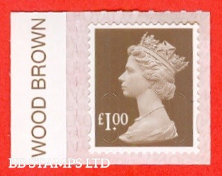 "£1.00 Wood Brown ""M18L"" Walsall Printing. Printed backing paper with pairs of lines inverted (Weak Printing)"