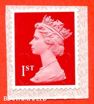 "1st Class Bright Scarlet. Walsall ""20"" ""MBIL"" RM Backing Paper with alternate 2 lines inverted (Backing paper N/A on used)"